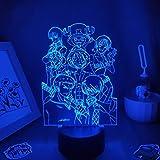 3D noche luz de una pieza anime figura luffy 3D lámparas LED...