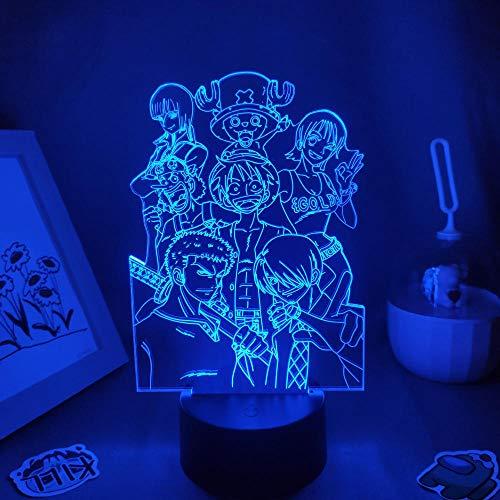3D noche luz de una pieza anime figura luffy 3D lámparas LED noche luces cumpleaños neón regalos amigos dormitorio manga café decoración zBXQ