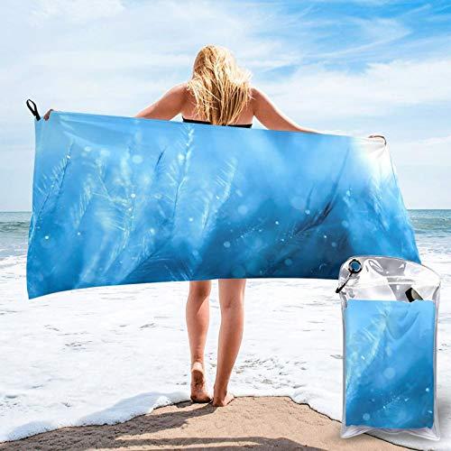 Toalla de playa de microfibra de plumas, de secado rápido, ligera, sin arena, para viajes al aire libre, manta de micro fibra, alfombrilla fina, personalizada, para mujeres, hombres, adultos