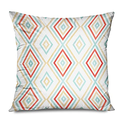 XCNGG Funda de Almohada Throw Pillow Cover Square 18x18 Inches Cream Watercolor Geometrical Pattern in Red Blue Beige Color for Diamond Geometric ...