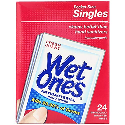 Wet Ones Singles Antibacterial Cleansing Wipes - 1 Box of 24 Singles