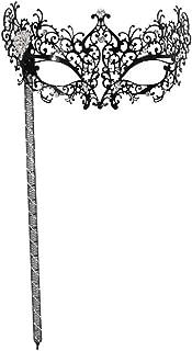 Success Creations Odette Large Jewel Laser-Cut Metal Venetian Masquerade Mask Mask on a Stick