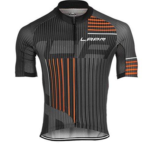 d.Stil Herren Radtrikot Set Kurzarm mit Sitzpolster für MTB Rennrad Fahrrad Jersey + Bib Shorts Radsportanzug M – XXXXL (Grau-Orange, M) - 2