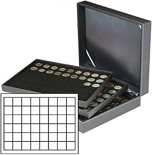 LINDNER Das Original Münzkassette NERA XL mit 3 Tableaus und Schwarzn Münzeinlagen mit 144 quadratischen F ern für Münzen Münzkapseln bis  0 mm oder Champagner-Kapseln