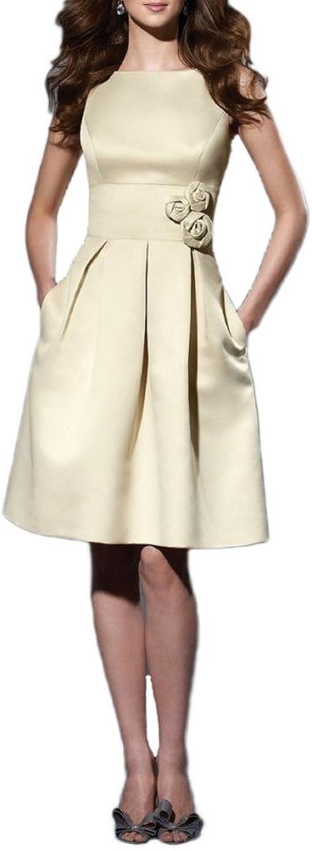 Dearta Women's ALine Bateau KneeLength Satin Bridesmaid Dresses