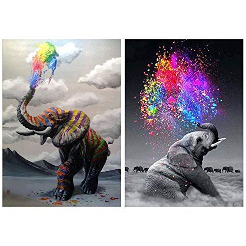 HaiMay 2 Pack DIY 5D Diamond Painting Kits Full Drill Rhinestone Painting Elephant Diamond Pictures for Wall Decoration, Animal Diamond Painting Style (Canvas 12×16 Inch)