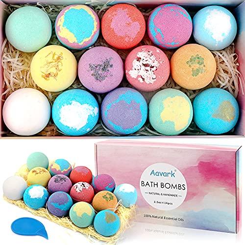 Bath Bombs, Aavark 14Pcs Bath Bombs Gift Set with Organic Natural Essential Oils, Sea Salt, Shea Butter to Moisturize Skin, Handmade Bubble Bath&Fizzy Spa, Best Gifts Idea for Women, Mom, Girls, Kids