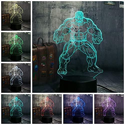 The Hulk The Avenger Cool Super Hero 3D LED noche luz lámpara de escritorio bombilla multicolor decoración del hogar niños novedad regalo