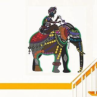 Decals Design 'Indian Art Elephant Rider' Wall Sticker (PVC Vinyl, 70 cm x 50 cm), Multicolour