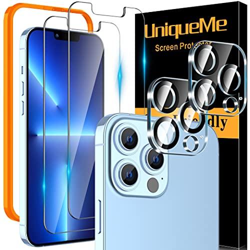 [2 Pack] UniqueMe 2 Pack Protector de Pantalla Compatible con iphone 13 Pro y [2 Pack] Protector de lente de cámara Cristal Templado [Sin Burbujas] HD Vidrio Templado