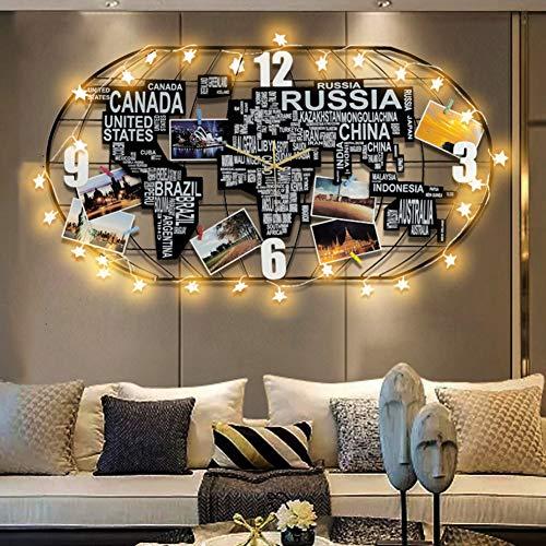 HM&DX Weltkarte Wanduhr Led Licht, Lautlos Ohne Tickgeräusche Große Uhr Metallrahmen Holz Hängende Uhr Wohnzimmer Wand-Dekoration-b 100x52cm(39x20inch)