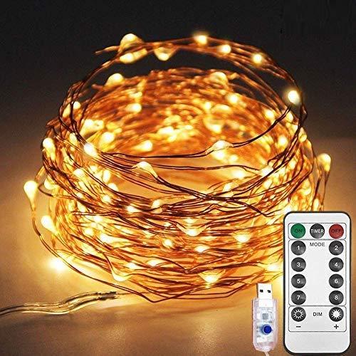 200 LED Lichterkette USB 20M Lange Lichterkette für Innen und Außen, 8 Modi Dimmbar mit Timer, Warmweiß Lichterkette für Zimmer Innen Weihnachten Außen Party Hochzeit Beleuchtungdeko