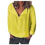 Auiyut Bluse Damen V-Ausschnitt Elegante T-Shirt Herbst Langarmshirts Loose Hemd Oversize Shirts Leicht Lässige Locker Hemd Blusenshirt Tops
