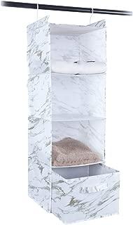 MustQ Hanging Closet Organizer, Space Saver, Marbling Printing,White (4-Shelf)