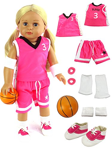 Pink Basketball Player Uniform fits 18 Inch Doll