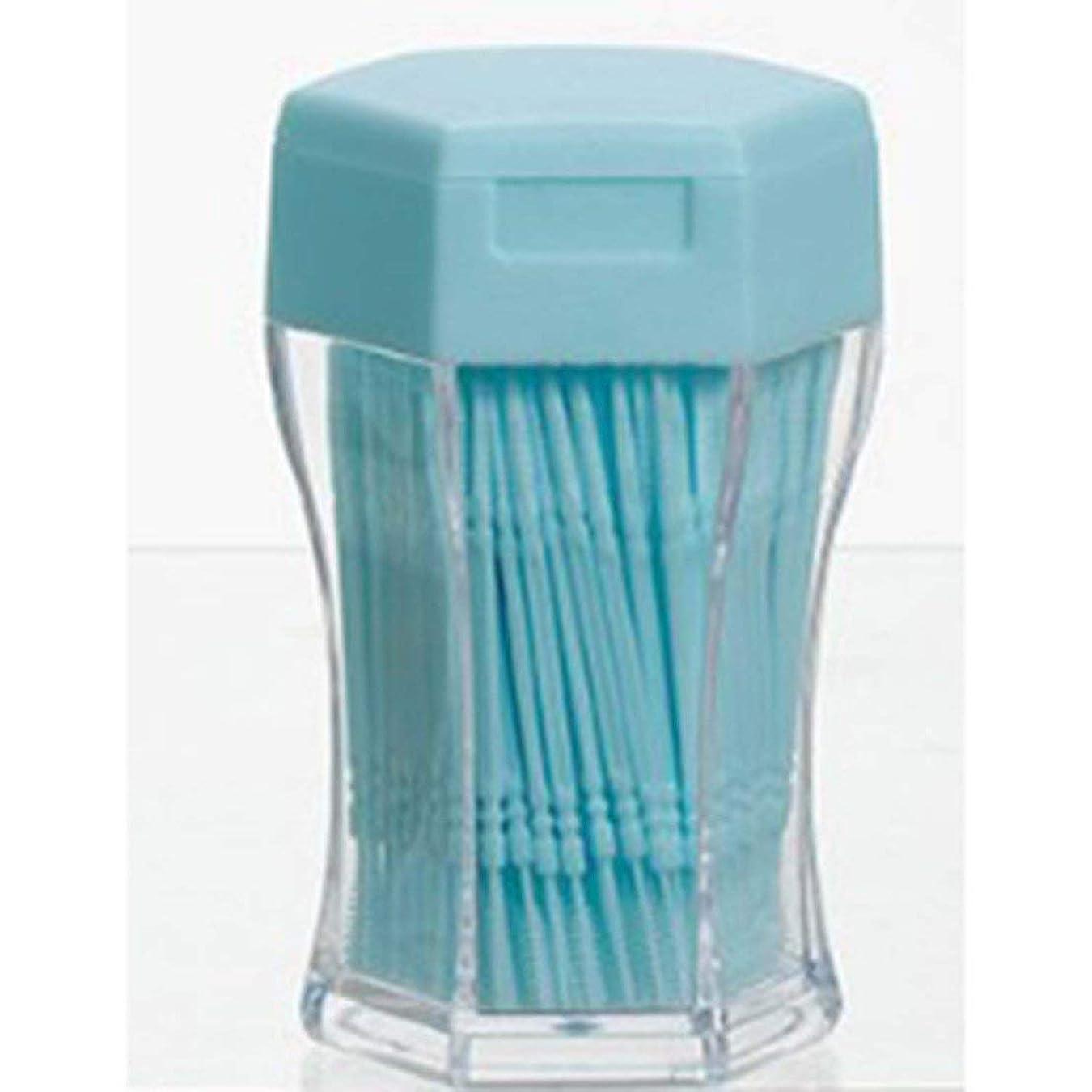 通り硫黄不均一200ピース/セットダブルヘッド歯フロス衛生デンタルフロスプラスチック歯間つまようじ健康用歯のクリーニングオーラルケア - ブルー