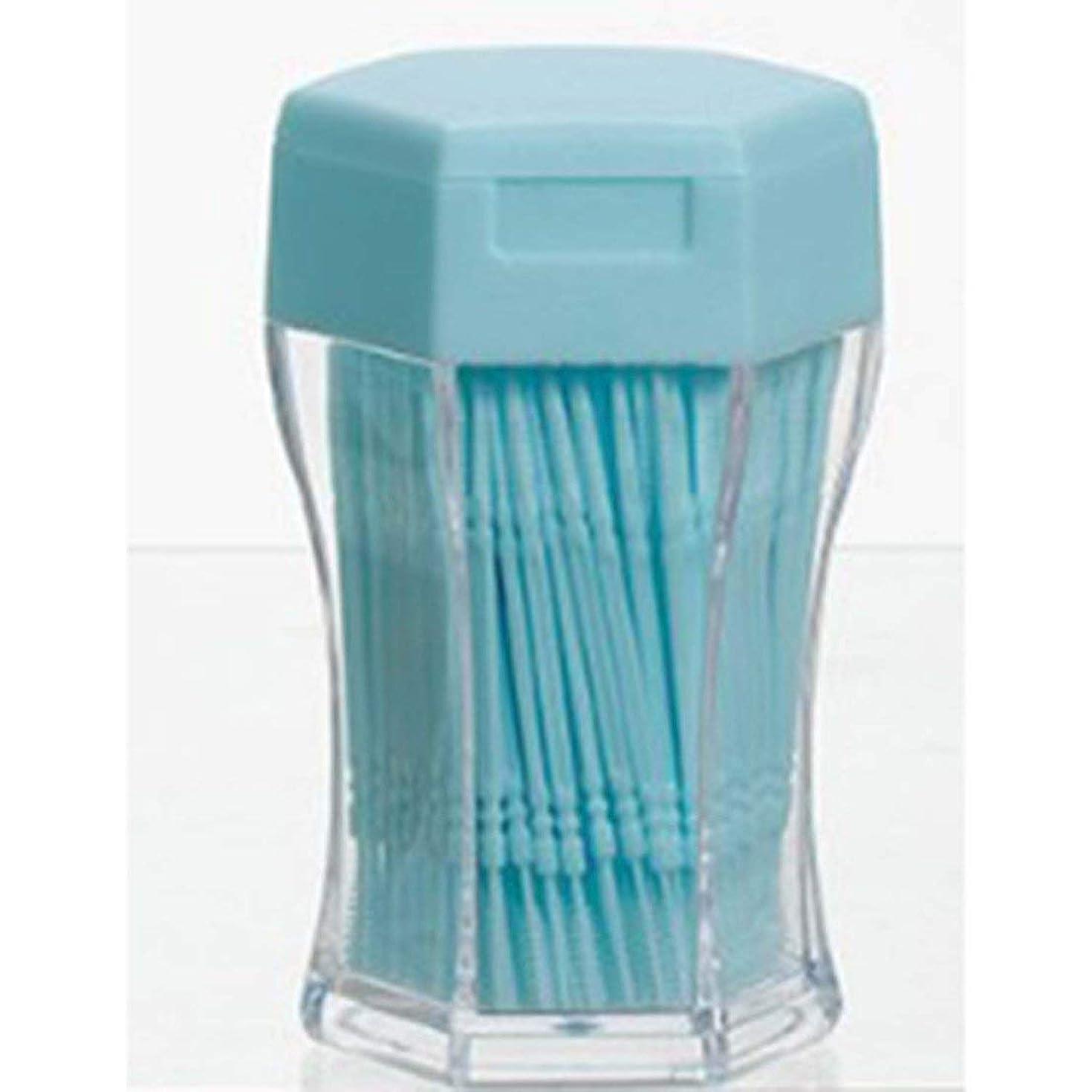 ぼかしオーロック脳200ピース/セットダブルヘッド歯フロス衛生デンタルフロスプラスチック歯間つまようじ健康用歯のクリーニングオーラルケア - ブルー