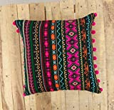 VLiving Acrylic Black Bohemian Throw Pillow Cover with hot Pink Pompom lace (Black, 16 x 16 in.)