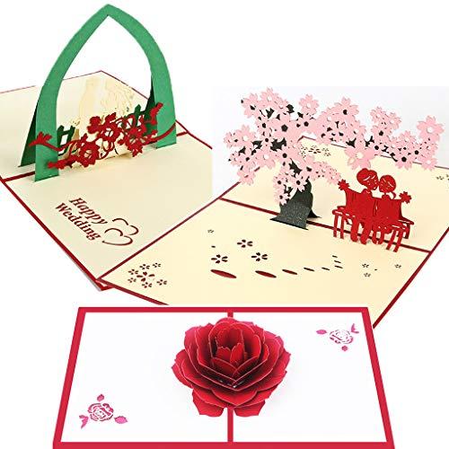 Charming House Pop Up Valentinstag 3D Karte 3er Set Jahrestag Karten für Ihn Sie Mehrfarbig