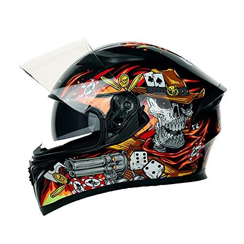 AJJ Casco da Motociclista da Corsa Integrale Teschio Moschettiere - Casco da Motociclista per ciclomotore Adulto con Visiera Parasole - Protezione Ciclista per Bici Strada Urban Dual Sport