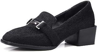 BalaMasa Womens Solid Nubuck Ruffles Urethane Pumps Shoes APL10706