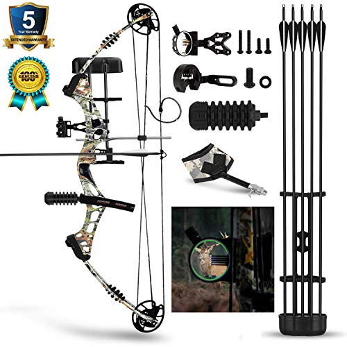 Compound Bow for Hunting, Bison M3 30-60lbs Compound Bow Kit with 5 Pin Lighted Sight, 6 Carbon Arrow, BCY String, etc. for Outdoor Sport, Adjustable 23-30in Draw Length and IBO 320 fps Right Hand