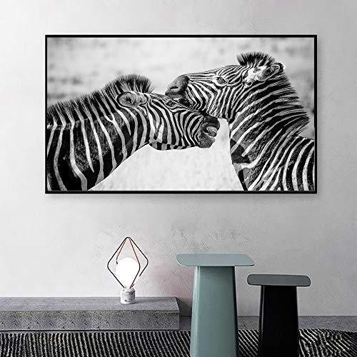 ganlanshu Imagen de Arte de Pared Pintura Animal Cebra Lienzo impresión Cartel Sala de Estar decoración del hogar,Pintura sin marco-60X108cm