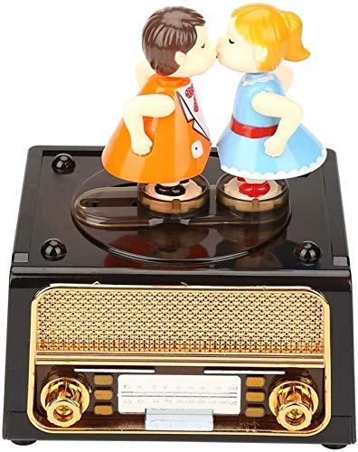 KEEBON Caja de música, Caja de música mecánica Vintage Retro Forma de Radio muñecas Encantadoras Besos de Almacenamiento Caja Musical para Boda Regalo de valentín