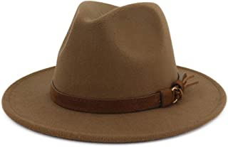 Men & Women Vintage Wide Brim Fedora Hat with Belt Buckle