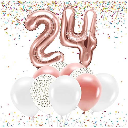 Feste Feiern Party-Deko 24. Geburtstag 20 Teile Set Zahlenballon Luftballon Folie Zahl 24 Rosegold weiß metallic Dekoration Happy Birthday Jubiläum