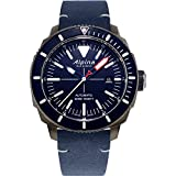 Alpina Men's Stainless Steel/Titanium PVD Swiss Automatic Sport Watch with Leather Strap, Navy, 22 (Model: AL-525LNN4TV6)