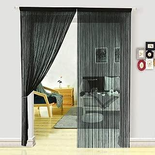 HSYLYM Dense Spaghetti Fringe String Door Curtain Panels Room Divider Fly Screen for Living Room (100X200cm,Black)