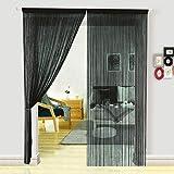 HSYLYM cortina espagueti para Puerta,ivisor de habitación,decoración del hogar,poliéster,negro,90x245cm