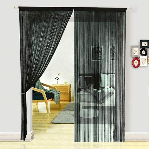 HSYLYM Dense Spaghetti Fringe String Door Curtain Panels Room Divider for Living Room (100x280cm,Black)