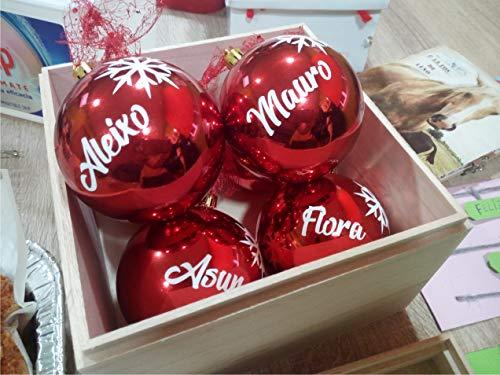 TOKPERSONAL 6 Nombres Adhesivos y 6 Copos DE Nieve Adhesivos para Pegar en Bolas de Navidad (Solo Incluye LOS Nombres Y Copos Adhesivos, NO Incluye Las Bolas) - Color Blanco