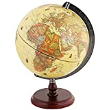 Exerz Antique Globe 10' / 25 cm Diameter with A Wood Base, Vintage Decorative Political Desktop...