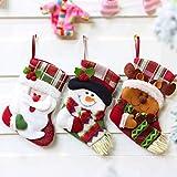 Mini calcetines de Navidad, 3D de Papá Noel, muñeco de nieve, soporte para cubiertos, medias de Navidad, bolsas de regalo y regalos para Navidad, calcetines colgantes para árbol de Navidad, hogar, decoración de jardín (6 unidades)