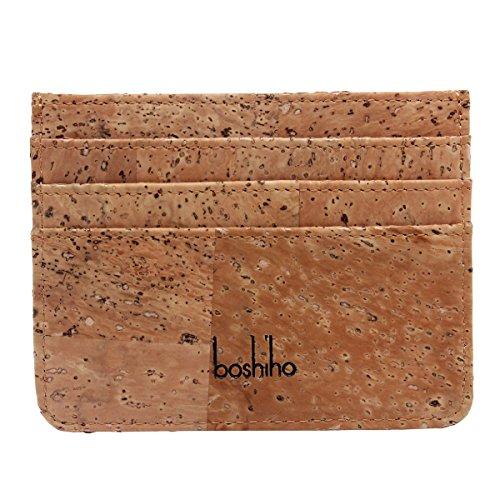 Boshiho Kreditkartenetui aus Kork, schmal, superdünn, umweltfreundlich, Geschenk für Veganer