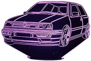 VW. GOLF 3, Lampada illusione 3D con LED - 7 colori.
