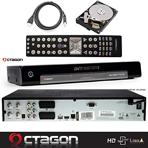 OCTAGON SF1018 HD Alliance - DVB-S2 H.264 Twin Tuner, PVR SAT Festplattenreceiver mit 1 TB HDD, BlindScan, Timeshift, Media Player, USB, LAN, inklusive gratis HDMI-Kabel (1 TB)