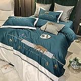 juego de funda nórdica negro-60 Juego de cuatro piezas de algodón de seda, ropa de cama individual de cama doble fijada para suministros de cama de confort transpirable-J_Cama de 2.0m (4 piezas)