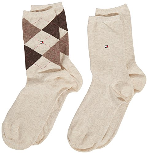 Tommy Hilfiger Damen Socken, 2er Pack, Beige (light beige melange 360), 35/38