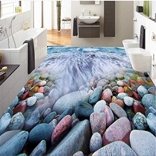 Baldosas de piso de onda de guijarro 3D pintura decorativa piso personalizado impermeable no tejido wallpaper-350 * 245cm