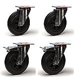 Lot de quatre roulettes pivotantes et pivotantes avec frein caoutchouc noir 125 mm - 300Kg