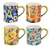HITBOX 470ml Taza Taza de gres brillante Juego de tazas de café Taza de té para oficina Hogar Lavavajillas y microondas Juego de tazas de regalo (paquete de 4)