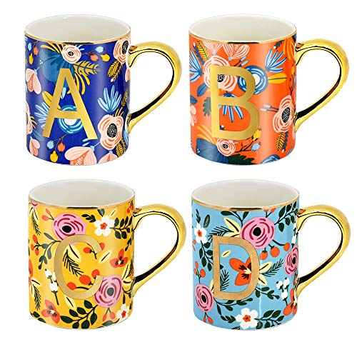 HITBOX Creative Alphabet Mugs Juego de 4 330ml Taza de bebida floral Té Taza de café con cacao con A B C D Diseño de letra Novedad Idea de regalo