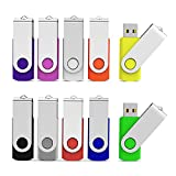 Aiibe 10 Pack 32GB Flash Drive USB Flash Drive USB 3.0 Thumb Drives USB Memory Stick 32 GB 3.0 Flash Drives Bulk (10 Mixed Colors: Black Blue Red Green Orange White Yellow Pink Purple Silver)
