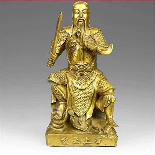 BD.Y Hermosa Escultura Decoración Estatuas y Figuras Escultura de Arte Estatua Cobre Puro Taoísta Zhenwu Emperador Estatua Decoración Feng Shui Escultura Casera