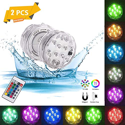 10 Led Underwater Pond Lights, 16 Color Hot Tub Lights, Submersible Mood Lamps with Infrared Remote Control for Lighting And Atmosphere Decoration (2 Pcs)