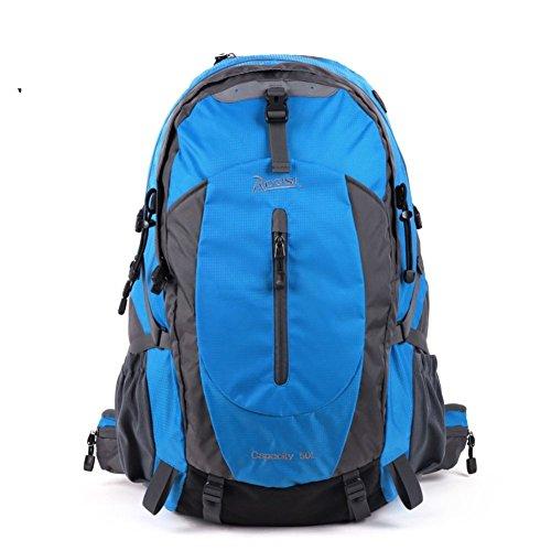 Backpack éclairage extérieur Sac de randonnée imperméable/50L décontracté Bleu 50L